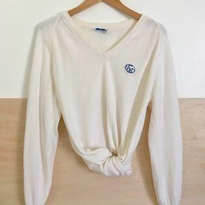 Vintage Ivory V-neck Tennis Club Sweater
